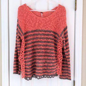 Free People Crochet Knit Stripe Sweater, size S
